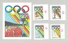 Greanda #1685, 1687, 1689, 1692, 1694 Seoul Olympics 4v & 1v S/S Imperf Proofs