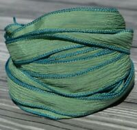 Spruce Crinkle Silk Ribbons Light Forest Green Ribbons, Hand Dyed 5 JamnGlass