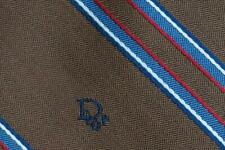 CHRISTIAN DIOR TIE CD All Over Stripe On Brown 8cm Skinny Polyester Silk Necktie