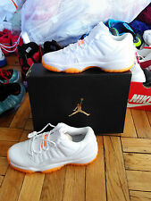 New Nike Air Jordan XI 11 Retro Low GG White Citrus Youth Size 7y DS Orange