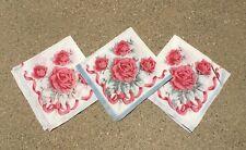 Set of 3 Antique Vintage Napkins Handkerchiefs Floral Rose Pattern Victorian