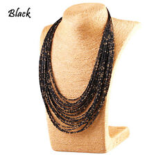 Vintage Multi Layer Chain Long Bohemia Necklace Seed Beads Jewelry Womens Gifts