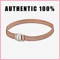 New Pandora Rose Gold Reflexions Multi Snake Chain Bracelet 925 Sterling Silver