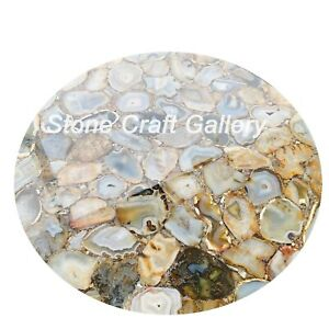 """24"""" Gloden Agate Table Top Natural stones Handmade"""