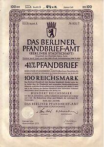 uralter 4 1/2% Pfandbrief des Berlin Pfandbrief-Amt/100 Reichsmark 1940