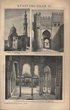 Lithografie 1902: KUNST DES ISLAM. II. Kairo Toledo Alhambra