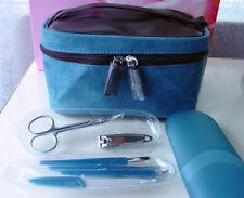 7pc Lancome Faux Suede Makeup Train Case & Manicure Set