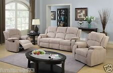 Beige Brown Fabric Material Manual Recliner Reclining Sofa Suite Dorset 311 3 Seater 2 Chairs