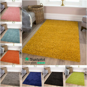 SMALL X LARGE M SIZE THICK PLAIN SOFT SHAGGY RUGS NON SHED 3cm PILE MODERN RUGS