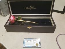 The Eternity Rose 24k Gold-Dipped Pink Glazed Rose with green leaf