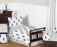 Sweet Jojo Deer Forest Navy Blue Gray Boys Toddler Comforter Sheet Bedding Set