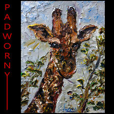 GIRAFFE ART█SIGNED ABSTRACT MODERN ORIGINAL█OIL PAINTING█VINTAGE█ANIMAL AFRICAN
