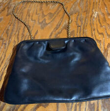Calderon Clutch Handbag Black Soft Leather Purse with Kisslock closure