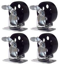 """4 Lot Steel Metal Swivel Plate Caster with Brake Lock Heavy Duty 3"""" Wheel 1300lb"""