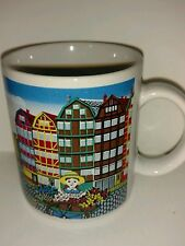 Vintage Collectible Coffee Mug Amsterdam Canal Cobblestone Flower girl Made in J