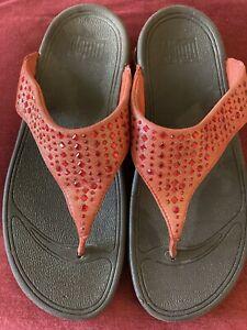 Ladies Fitflops, Orange Beaded, UK Size 6.5