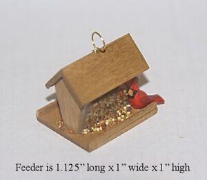 BIRD FEEDER WITH CARDINAL 1:12 SCALE DOLLHOUSE MINIATURES