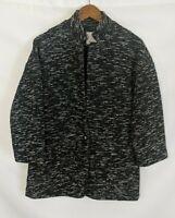 Elevenses Anthropolgie Womens Black White Coat Jacket 3/4 Sleeve Small S