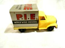 """Vintage Tin Friction P.I.E. World Wide Movers Truck Japan Yellow Cab 3 1/2"""""""
