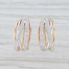 Diamond Tri-Toned Half Hoop Earrings 14k Yellow Rose White Gold Omega Backs