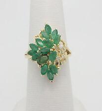 VINTAGE 2CT EMERALD & DIAMOND COCKTAIL RING 14K YELLOW GOLD