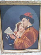 """tres jolie huile sur toile romantisme Italie 19èmes """"Amore romanza"""""""