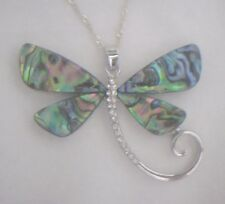 Necklace/Pendant Dragonfly Abalone Shell new w/ chain box rhinestone curved tail