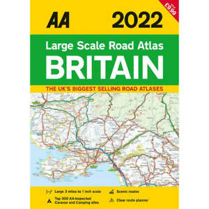 AA 2022 Large Scale Road Atlas Britain, 3 Miles to 1 inch, Route Planner