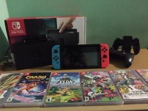 Nintendo Switch Neon + 6 Games + Pro Controller