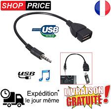 Câble Jack 3.5mm Stéréo Audio Prise Mâle Vers USB 2.0 OTG Femelle Adaptateur