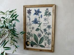 Wooden Framed Fabric Nature Picture, Floral Leaf Flower Green Art Print Decor