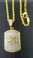HIP HOP FASHION NUMBER 23 RHINESTONE GOLD TONE PENDANT AND CHAIN JORDAN 3MM 24""