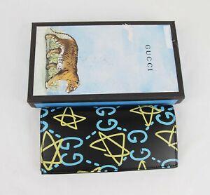 Gucci Black Leather Bifold Long Wallet w/Blue/Yellow GG Star Print 448466 8438