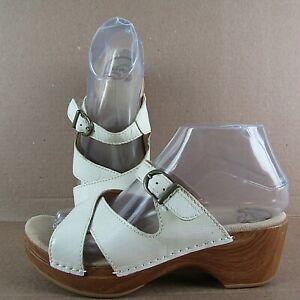 Dansko Sela Ivory Pearl Leather Slide Sandals Women's Size 37 / 6.5 - 7