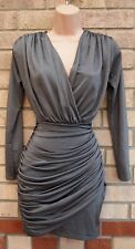 BOOHOO SILVER GREY RUCHED V NECK LONG SLEEVE BODYCON PARTY CLUB DRESS 10 S