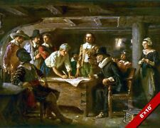 THE MAYFLOWER COMPACT PILGRIMS US HISTORY OIL PAINTING ART PRINT ON REAL CANVAS