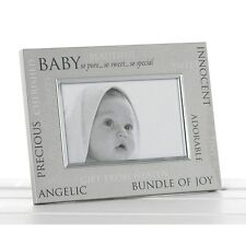 Satin Silver Sentiment Baby Photo Frame New Baby Christening Gift