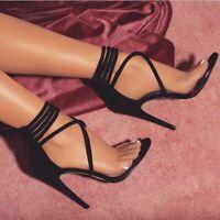 Sexy Ladies Open Toe High Stiletto Heels Zipper Sandals Pumps Evening Party Shoe