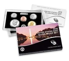 2018 S SILVER PROOF Set US Mint 10 Coins Kennedy ATB $1 Dime Penny w/ BOX COA