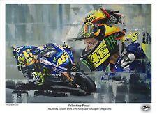 Valentino Rossi A3 edición limitada de impresión firmada por el artista Greg Tillett MotoGP