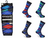 Mens 6 12 PACK Cotton Rich Argyle Computer Socks Dress Formal Office Casual Wear