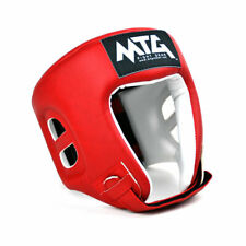 MTG Boxing Headguard Red Open Face Synthetic Leather Competition