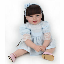 "22"" Reborn Baby Doll Girl Soft Vinyl Real Life Newborn Long Wig Toddler Dolls"