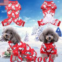 Christmas Cat Dog Pajamas Soft Cotton Small Pet Clothes Apparel Puppy Jumpsuit