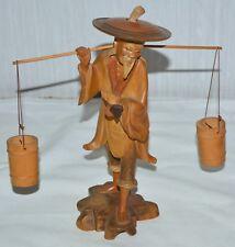 Alter Chinese Wasserträger Holz Figur geschnitzt Eimer Hut Pfeife abnehmbar