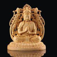 Japanese Buddha Dainichi Nyorai Statue Tsuge Wood Double Sided Engraving Amulet