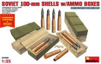 Miniart 35088 - 1/35 Soviet WW II 100-mm Shells with Ammo Boxes 8 Plastic Model