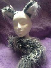 Siberian Husky Ears And Tail Fancy Dress Set Grey & White Luxury Fur One Size