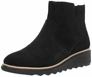 Clarks womens Sharon Swing Ankle Boot, Black Suede, 8 Wide US