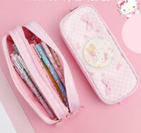 Hello kitty lovely pencil case double zip School Stationery Cosmetic Bag Gift